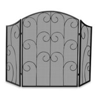 UniFlame® S-1507 3-Fold Black Wrought Iron Fireplace Screen