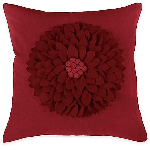 Square Throw Pillow Pattern : Rizzy Home Flower Applique Pattern Square Throw Pillow - Bed Bath & Beyond