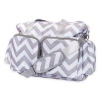 Trend Lab® Chevron Duffle Diaper Bag in Grey/White