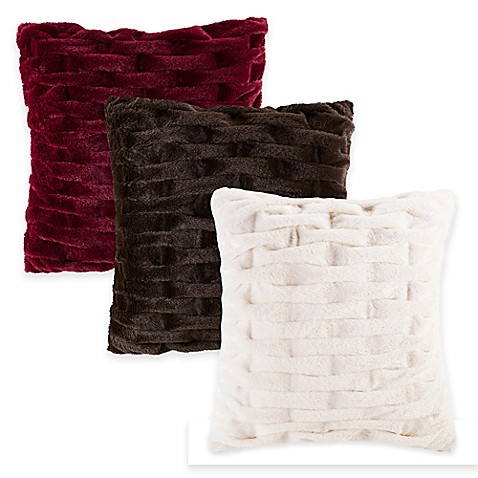 Madison Park Ruched Faux-Fur Square Throw Pillow - Bed Bath & Beyond