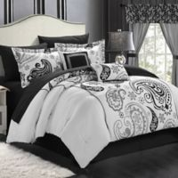 Chic Home Olivia Paisley 20-Piece Reversible Queen Comforter Set in White