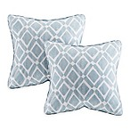 Madison Park Delray Diamond Square Throw Pillow in Blue (Set of 2)