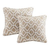 Madison Park Delray Diamond Square Throw Pillow in Tan (Set of 2)