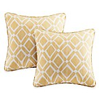 Madison Park Delray Diamond Square Throw Pillow in Yellow (Set of 2)