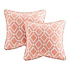 Madison Park Delray Diamond Square Throw Pillow in Orange (Set of 2)