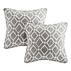 Madison Park Delray Diamond Square Throw Pillow in Grey (Set of 2)