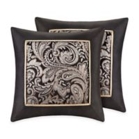 Madison Park Aubrey Square Throw Pillows in Black (Set of 2)
