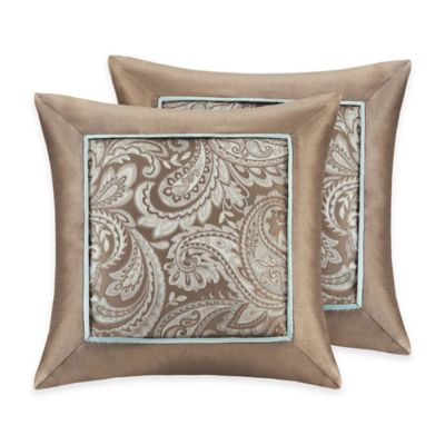 Madison Park Aubrey Square Throw Pillows In Blue (Set Of 2)