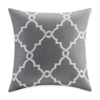 Madison Park Saratoga Fretwork Square Throw Pillow in Grey
