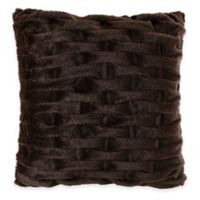 Madison Park Ruched Faux-Fur Square Throw Pillow in Brown