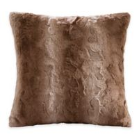 Madison Park Zuri Faux-Fur Reversible Square Throw Pillow in Tan