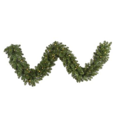 Vickerman Grand Teton Pine 25-Foot Garland in Green with Warm White LED Lights