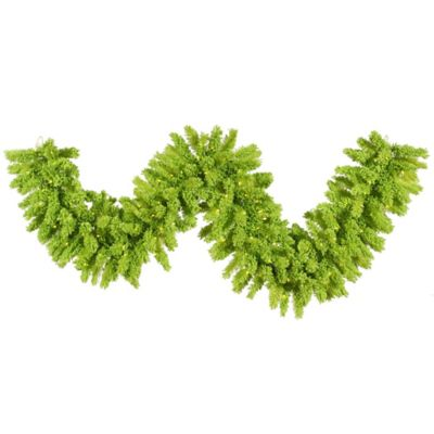 Vickerman Flocked Lime 9-Foot Pre-Lit Garland in Lime with Aqua Lights