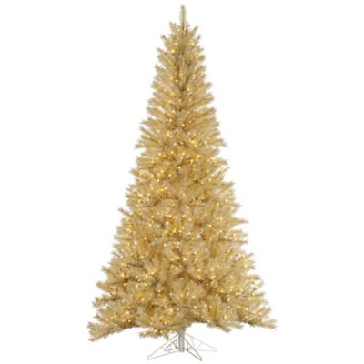 Beautiful Vickerman 7.5 Foot Tinsel Pre Lit Christmas Tree In White Gold With Clear  Lights