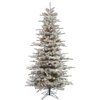 Vickerman 7.5 Foot Flocked Slim Sierra Dura Lit Pre Lit Christmas Tree With