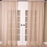 Aura 84-Inch Striped Sheer Window Curtain Panel in Natural