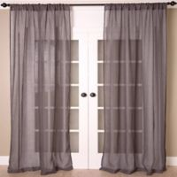 Aura 84-Inch Solid Sheer Window Curtain Panel in Pewter