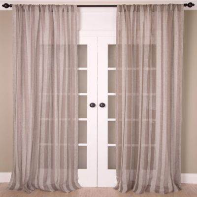 Aura 84 Inch Striped Sheer Window Curtain Panel In Taupe Grey
