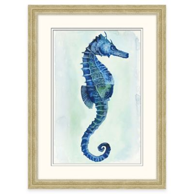 Framed Giclée Watercolor Seahorse 1 Wall Art