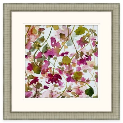 Framed Giclee Watercolor Lattice Flowers Wall Art