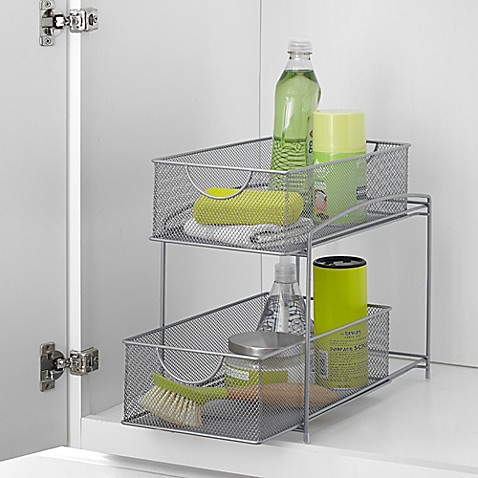 Org mesh 2 tier sliding cabinet basket in silver bed - Bathroom storage cabinet with baskets ...