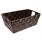 Small Woven Accessory Storage Tote in Espresso