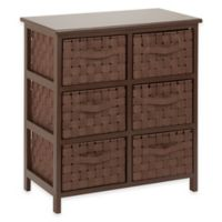 Honey-Can-Do® 6-Drawer Woven Strap Storage Chest in Light Espresso