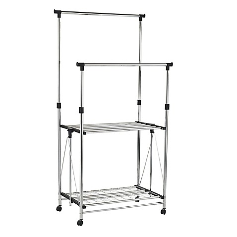 Danya B™ 2 Shelf Folding Telescopic Double Garment Rack In Chrome