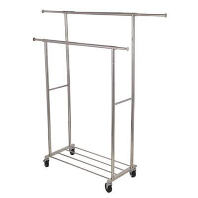 household essentials stainless steel double bar garment rack in silver