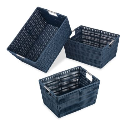 Nice Whitmor 3 Piece Storage Basket Set In Navy