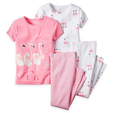 carter s 4 Piece Flamingo Pajama Set in Pink Bed Bath