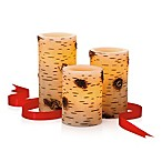 Loft Living 3-Piece Flameless LED Birch Pillar Candle Set with Timer