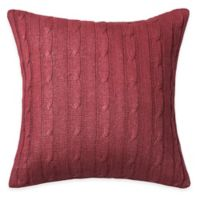 Rizzy Home Cable Knit Square Throw Pillow in Red/Silver