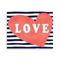 Striped Love Heart 11-Inch x 8-Inch Canvas Wall Art
