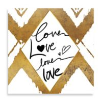 Love Times Four Gold Ikat Large Wall Art