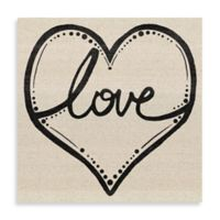 Love Script Heart 24-Inch x 24-Inch Canvas Wall Art