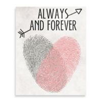 "Finger Stamped Heart and Arrow ""Always and Forever"" 8-Inch x 10-Inch Canvas Wall Art"