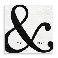 """Mr. & Mrs."" Black Ampersand 16-Inch x 16-Inch Canvas Wall Art"