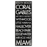 Miami Florida Landmark Typography Canvas Wall Art
