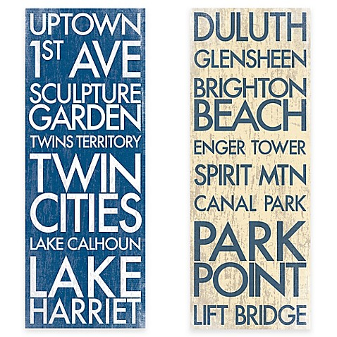Minnesota Landmark Typography Canvas Wall Art Bed Bath