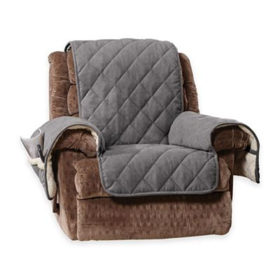 Sure Fit® Reversible Flannel and Sherpa Recliner Cover in Grey  sc 1 st  Bed Bath u0026 Beyond : reclining chair bed - islam-shia.org