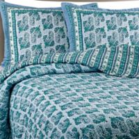Raya Cotton Voile Full/Queen Quilt Set in Aqua