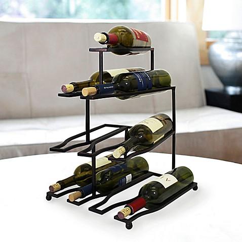 mesa design 10 bottle wine rack in antique black bed