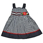 Samara Size 24M Gingham Print Dress in Navy/White