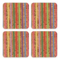 Thirstystone® Cork Coasters in Multicolor Stripe (Set of 4)