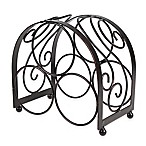 Mesa Brand & Scroll 3-Bottle Wine Rack in Antique Black
