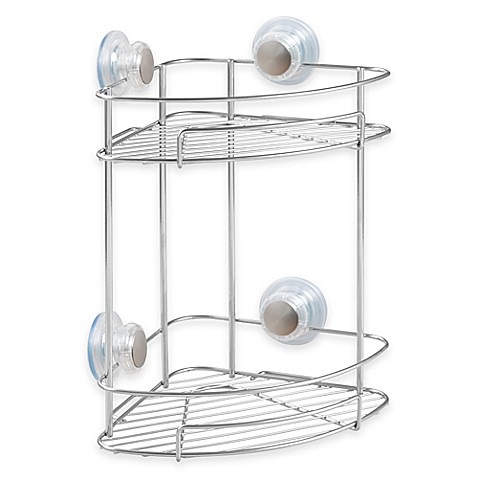 Interdesign turn n lock 2 tier suction corner basket for Caddy corner bed
