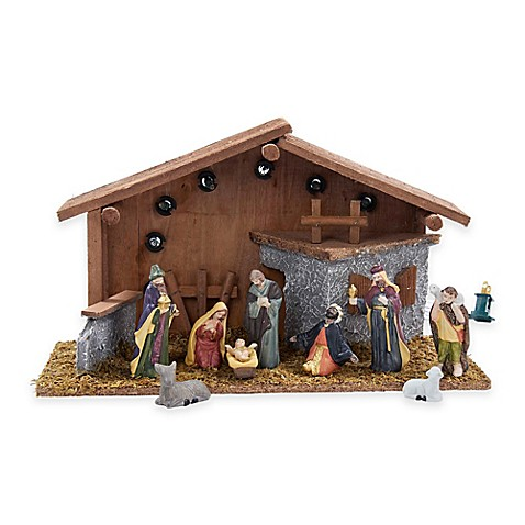 Nativity set with stable this kurt adler 10 piece lighted nativity set