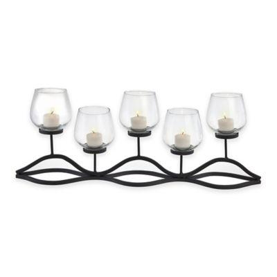 Danya b 5 light wavy iron glass hurricane candle holder
