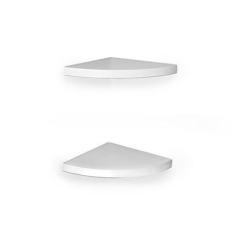 Buy danya b veneer radial corner shelves in laminated white set of 2 from bed bath beyond - Danya b corner shelf ...